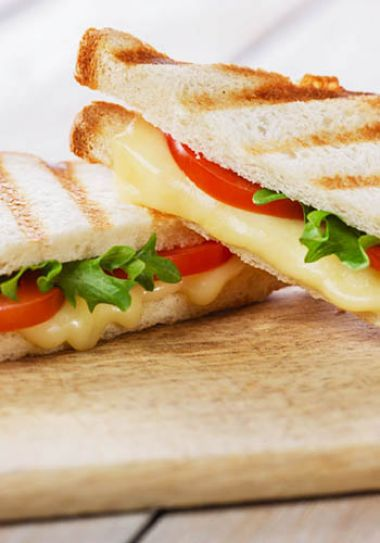 Toast with cheese, tomato and lettuce